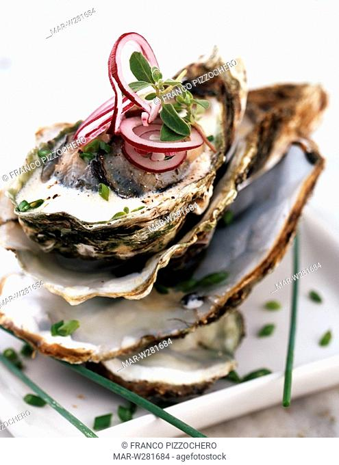 oyster with butter and scallon