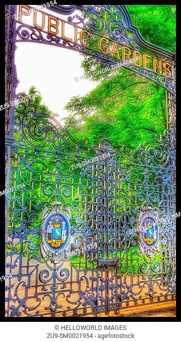 Wrought iron gates to Victorian era Halifax Public Gardens (1867), Halifax, Nova Scotia, Canada