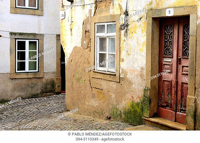 Rustic street and door of Idanha-a-Nova, Castelo Branco, Portugal