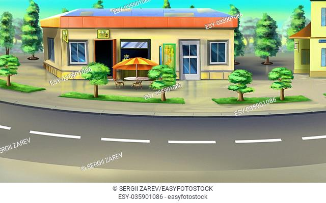 Digital painting of the bus stop and small parking beside the road. With trees, flowerbeds, buildings and cafe