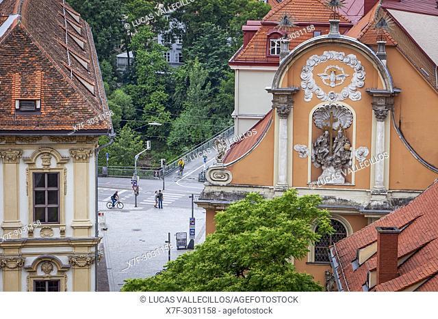 Aerial view, at right facade of Dreifaltigkeitskirche or Holy Trinity church, Graz, Austria