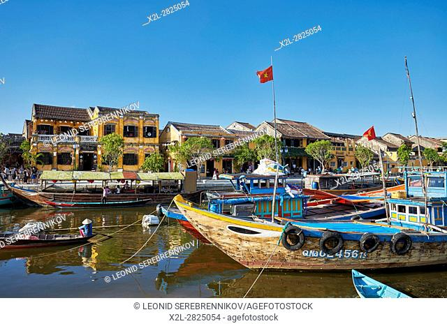Boats on the Thu Bon River. Hoi An, Quang Nam Province, Vietnam