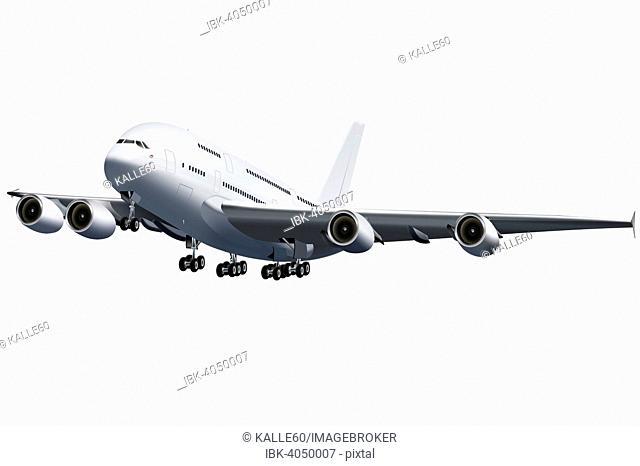 Wide-body aircraft jumbo jet, landing, illustration