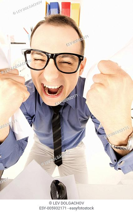 funny wideangle picture of businessman in office