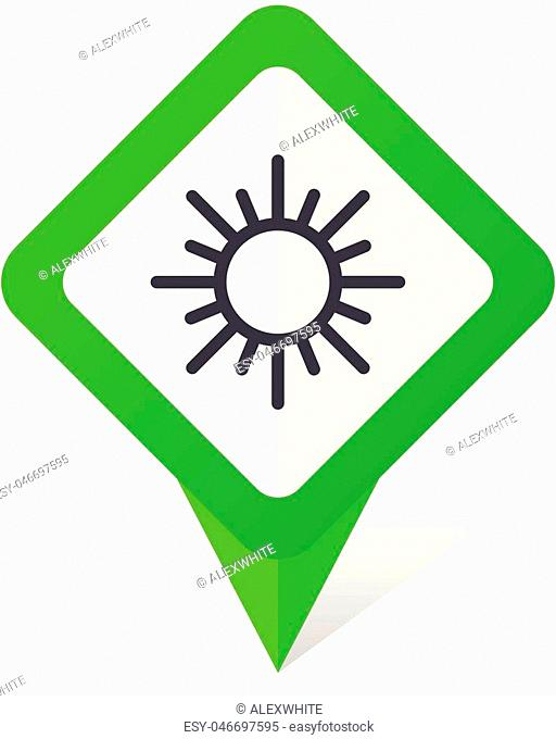 Sun green square pointer vector icon in eps 10 on white background with shadow