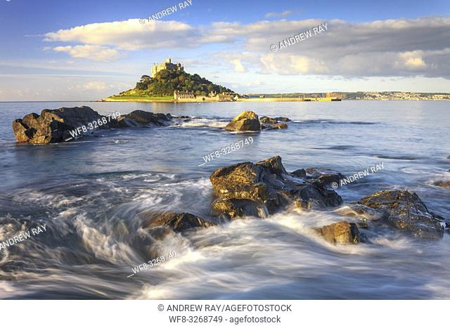 St Michael's Mount captured from Top Tieb rocks, shortly after high tide in September