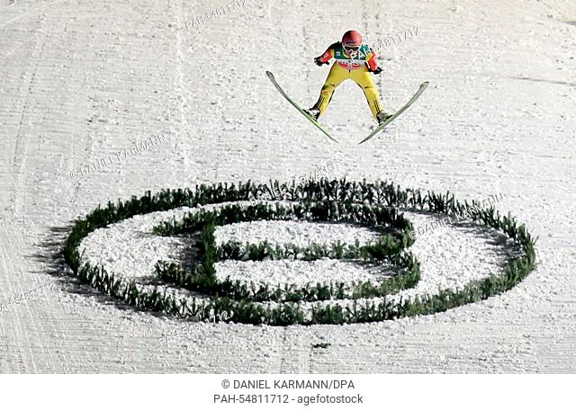 Severin Freund ofGermany soars through the air during the fourth stage of the 63rd Four Hills Tournament ski jumping event in Bischofshofen, Austria