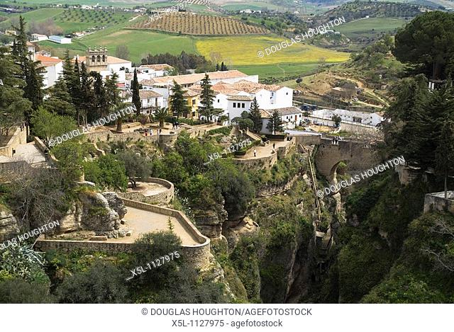 RONDA SPAIN El Puente Viejo old bridge and El Tajo gorge from viewpoint