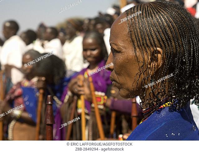 Woman with braided hair during the Gada system ceremony in Borana tribe, Oromia, Yabelo, Ethiopia