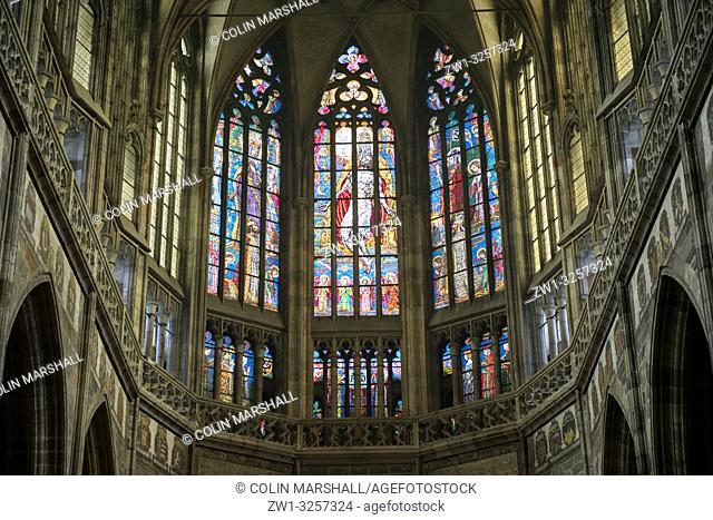 Nave with stained glass windows and vaulted ceiling, St Vitus Cathedral, Prague Castle, Prague, Czech Republic