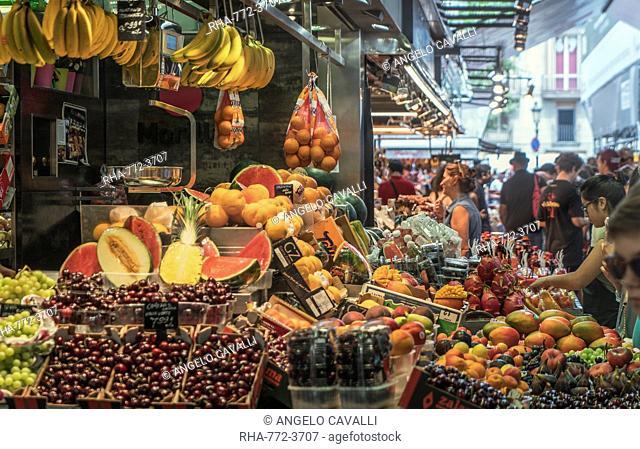Market La Boqueria, Barcelona, Catalonia, Spain, Europe