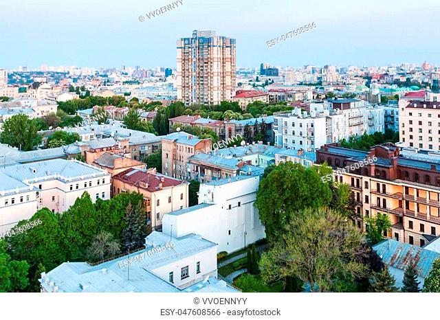 travel to Ukraine - view of residential district in Kiev city in spring sunrise