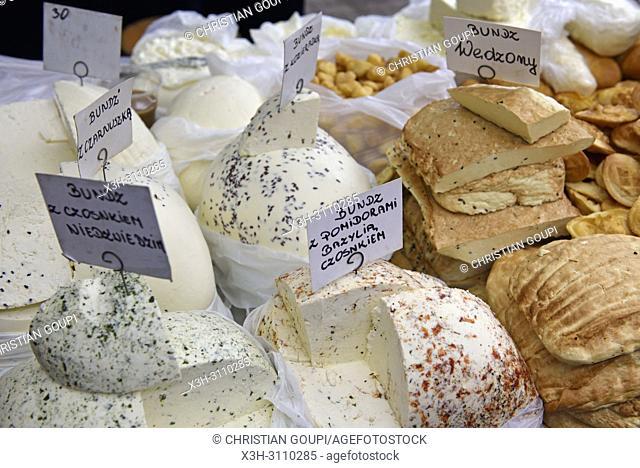 variety of ''Bundz'' a Polish sheep milk cheese at Stary Kleparz market hall, Krakow, Malopolska Province (Lesser Poland), Poland, Central Europe
