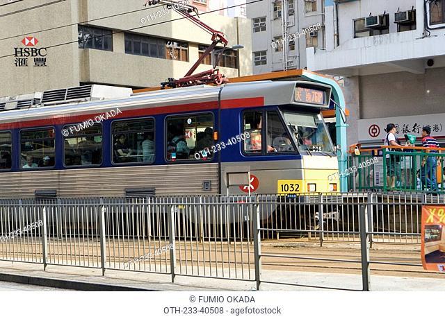 Light rail in Yuen Long, New Territories, Hong Kong