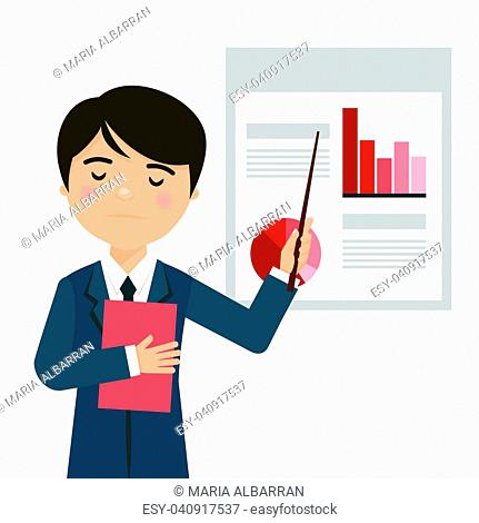 Worried businessman in a business presentation with negative statistics. Vector illustration