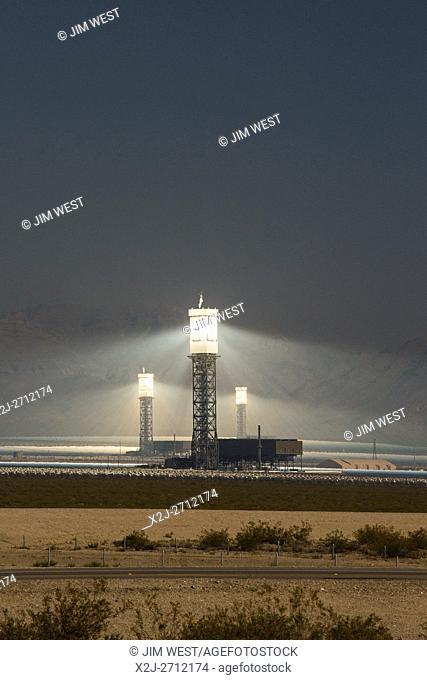San Bernardino County, California - NRG Energy's Ivanpah Solar Project, a solar thermal electric generating facility in the Mojave Desert