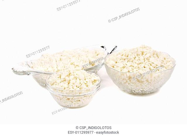 Three bowls with cottage cheese