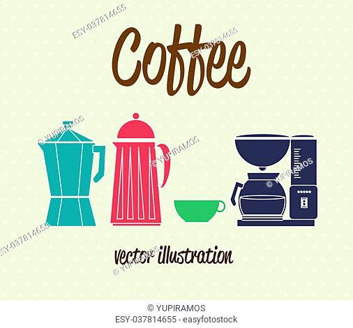 coffee icons over dotted background vector illustration