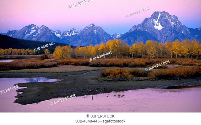 Mount Moran at Sunrise from Oxbow Bend in Snake River