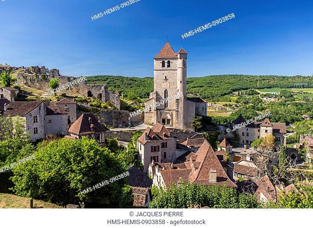 France, Lot, Saint Cirq Lapopie, labelled Les Plus Beaux Villages de France (The Most Beautiful Villages of France), romanic church strengthened of the 15th...