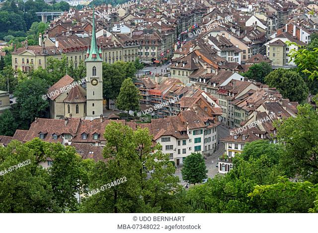 View of Bernese old town with Nydegg church, Bern, Canton Bern, Switzerland