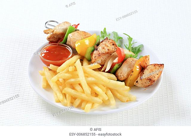 Chicken Shish kebab with French fries