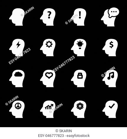 Vector white thoughts icons set on black background
