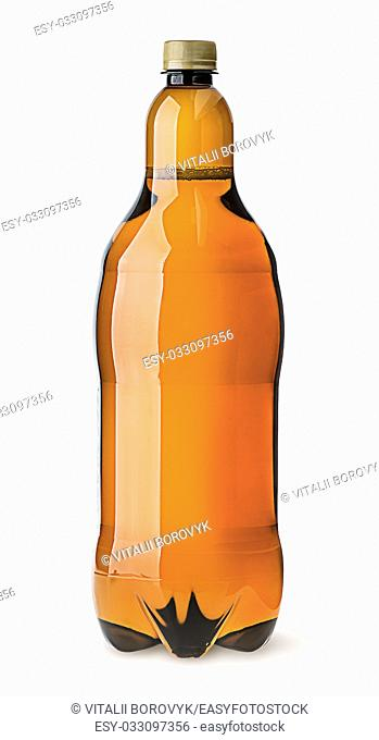 Big plastic bottle with beer isolated on white background