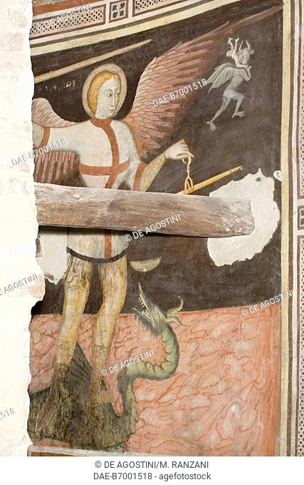 St Michael holding scales for weighing the souls of the dead, frescoes behind St Michael's altar, left transept in Cremona cathedral, Cremona, Lombardy
