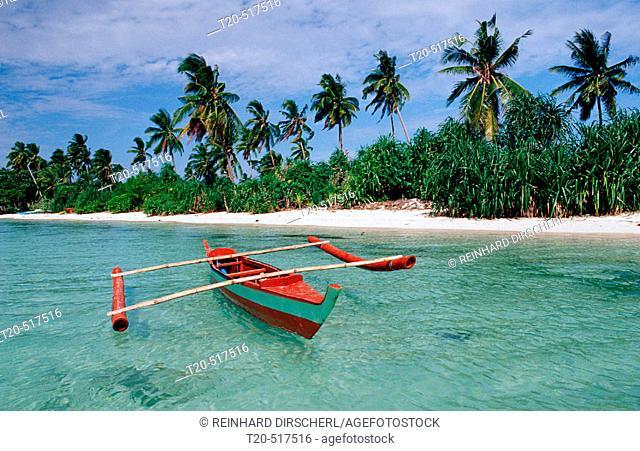 Banca, Outrigger boat on the beach, Philippines, Ananyana Resort, Panglao Island, Bohol