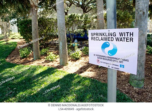 St Petersburg Florida uses reclaimed water to water municipal lawns. USA