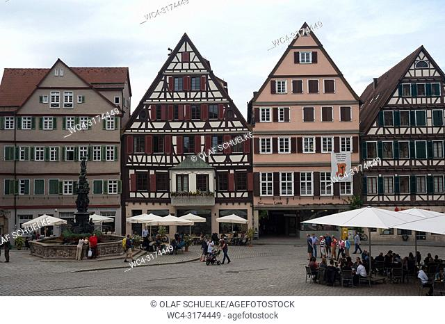 05. 06. 2017, Tuebingen, Baden-Wuerttemberg, Germany, Europe - The market square in Tuebingen's old town