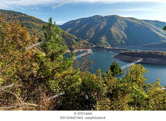 Amazing ladscape with forest around Vacha (Antonivanovtsy) Reservoir, Rhodopes Mountain, Bulgaria