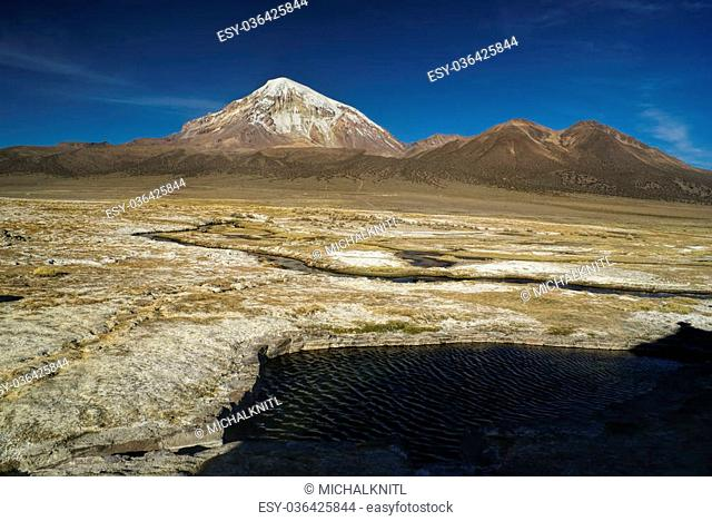 Scenic view of Nevado Sajama volcano, highest peak in Bolivia in Sajama national park
