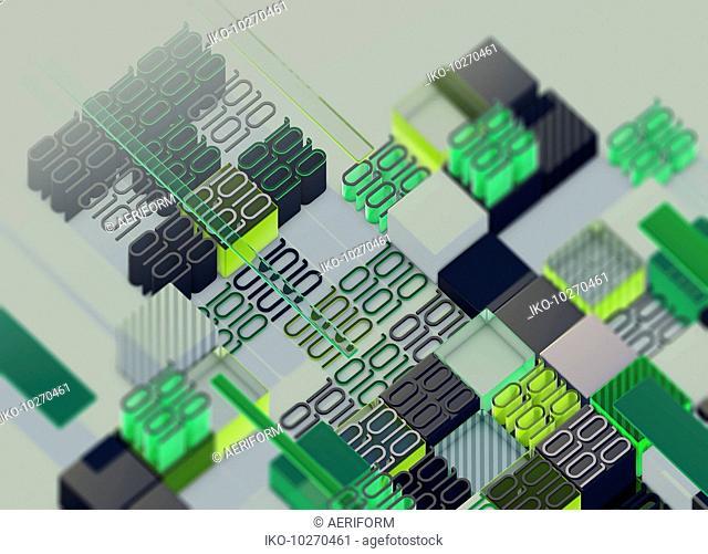 Irregular pattern of blocks of binary code data