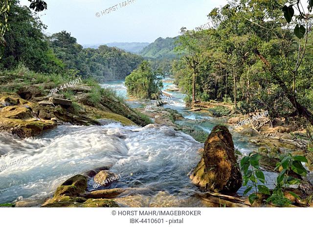 Cataratas de Agua Azul, blue water waterfalls, Rio Yax, Palenque, Chiapas, Mexico