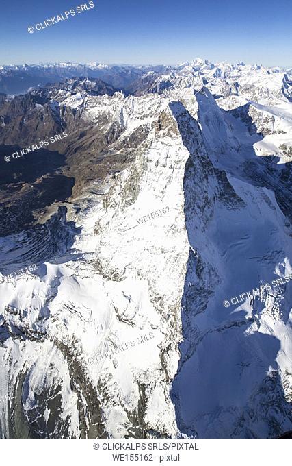 Aerial view of the snowy peak of Matterhorn in autumn Zermatt canton of Valais Switzerland Europe