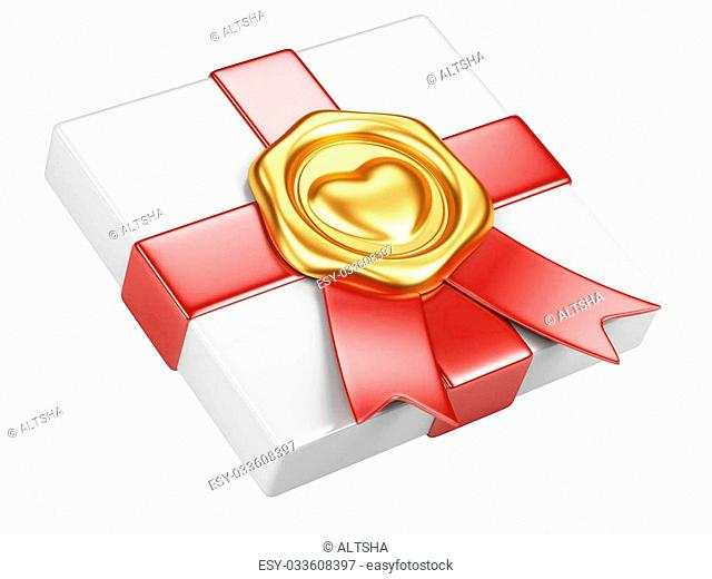 white box with gold sealing wax and red ribbon isolated on a white