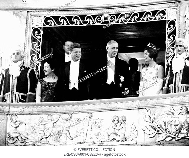 President and Jacqueline Kennedy at the Palace of Versailles. Madame Yvonne de Gaulle, Pres. John Kennedy, Pres. Charles de Gaulle