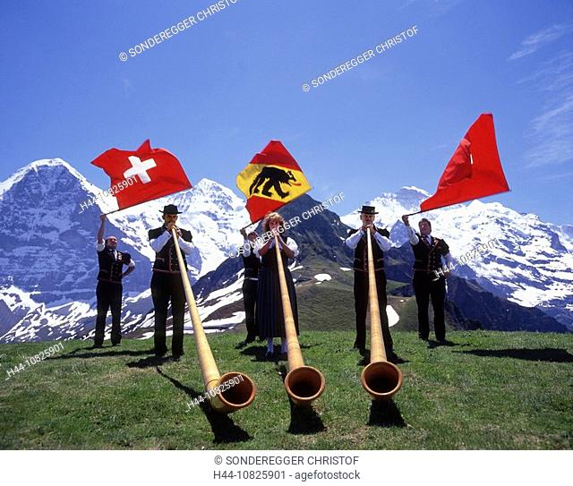 Jungfrau area, alpine party, Mannlichen, flag throwing, alphorn, folklore, national costumes, tradition, music, Alpine