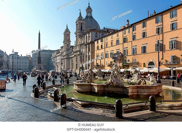 PLAZZA NAVONA, BAROQUE ART, SANT'AGNESE IN AGONE CHURCH, ROME, ITALY, EUROPE