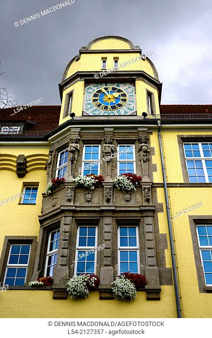 Clock and Flower Boxes Rothenburg Germany DE Franconia Bavaria