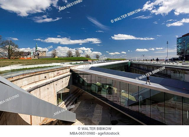 Denmark, Zealand, Helsingor, Danish Maritime Museum in underground drydock and Kronborg Castle