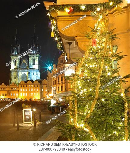 Old Town Square at Christmas, Prague, Czech Republic
