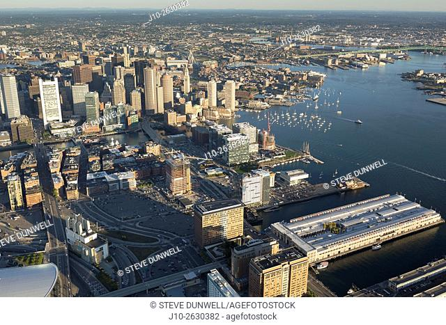 Aerial view of South Boston waterfront, Fan Pier area, Boston, MA showing construction in the Seaport District. (view to north), USA