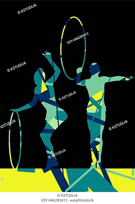 Girl calisthenics sport gymnast silhouette with spinning ring in abstract graphic mosaic background illustration vector