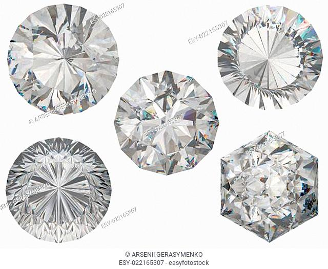 Top views of round and hexagonal diamond cuts