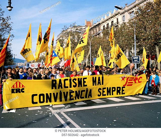 Demonstration against racism in Passeig de Gràcia, Barcelona. Catalonia, Spain