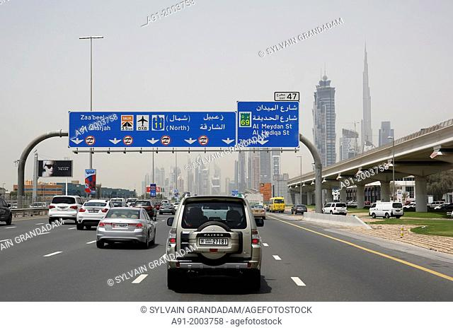 United Arab Emirates (UAE), Dubai, on Highway E11 also named Sheikh Zayed Road, which link Abu Dabi to Dubai built in1971