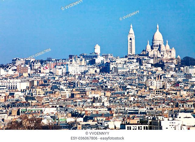 panorama of montmartre hill and basilique sacre coeur in Paris
